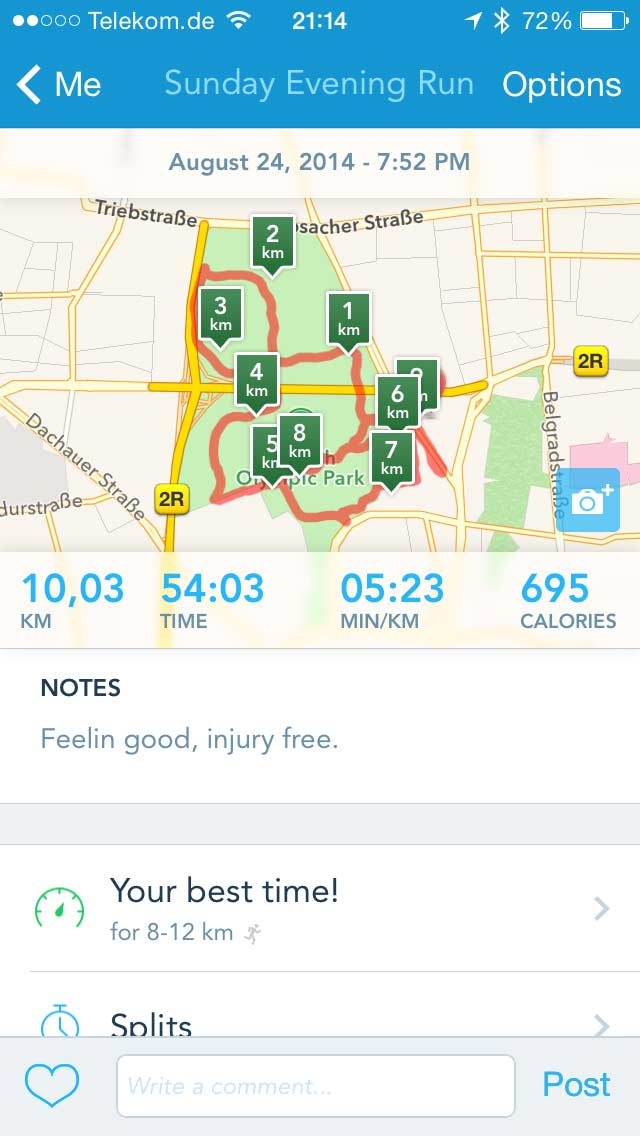 Runkeeper: Run details incl. map