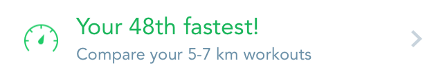 Runkeeper message: 48th fastest!
