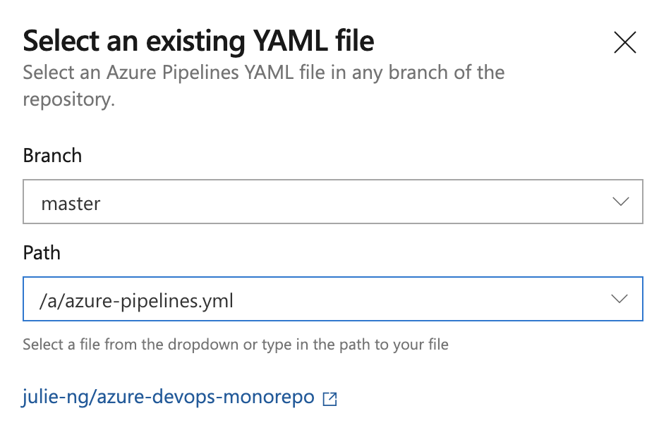 Choose existing YAML path