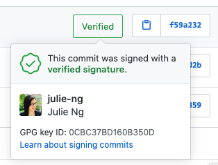 GitHub shows verified commits