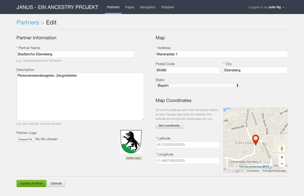 Admin interface where users can manage a partner, including uploading a logo and placing the marker via geolocation.